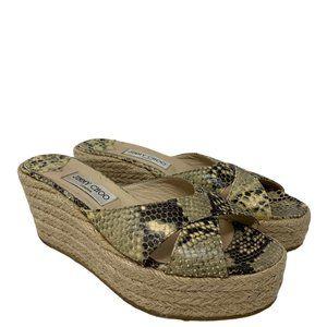 Jimmy Choo Paisley Snakeskin Wedge Espadrille Heel Slides Size 40 US 10